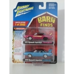 Johnny Lightning 1:64 Barn Finds 2-pack Plymouth Superbird 1970 blue and dark red
